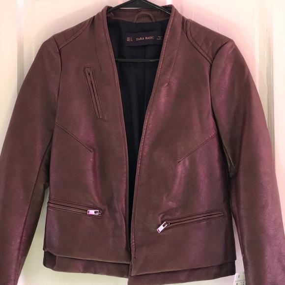 Zara Jackets & Blazers - Zara Basic - Brown Leather Jacket